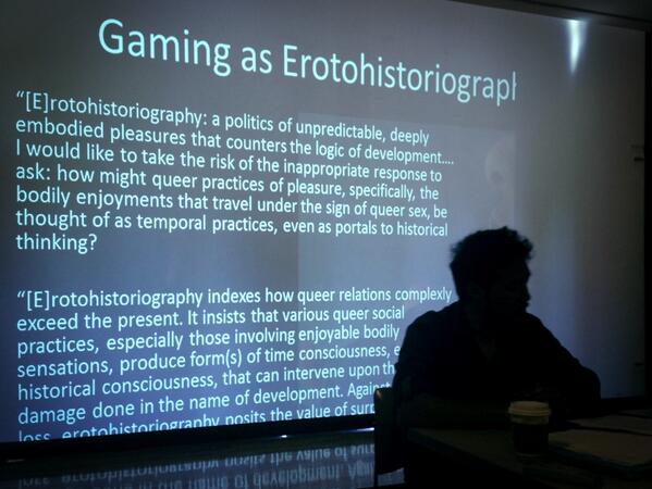 """Takeo Rivera """"tak[ing] the risk of the inappropriate response"""" to address #techno-Orientalism mechs in gaming #psi19 pic.twitter.com/XLyyq6WbRt"""