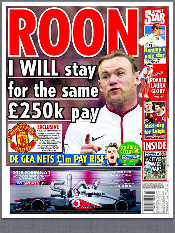 Rooney will stay at Man United for same £250k pay + De Gea bags a pay rise [Daily Star Sunday]