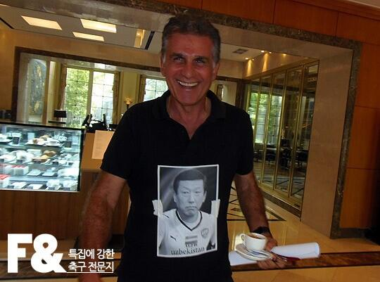 Irans Carlos Queiroz trolls South Korea pinning a sad picture of their coach on his shirt