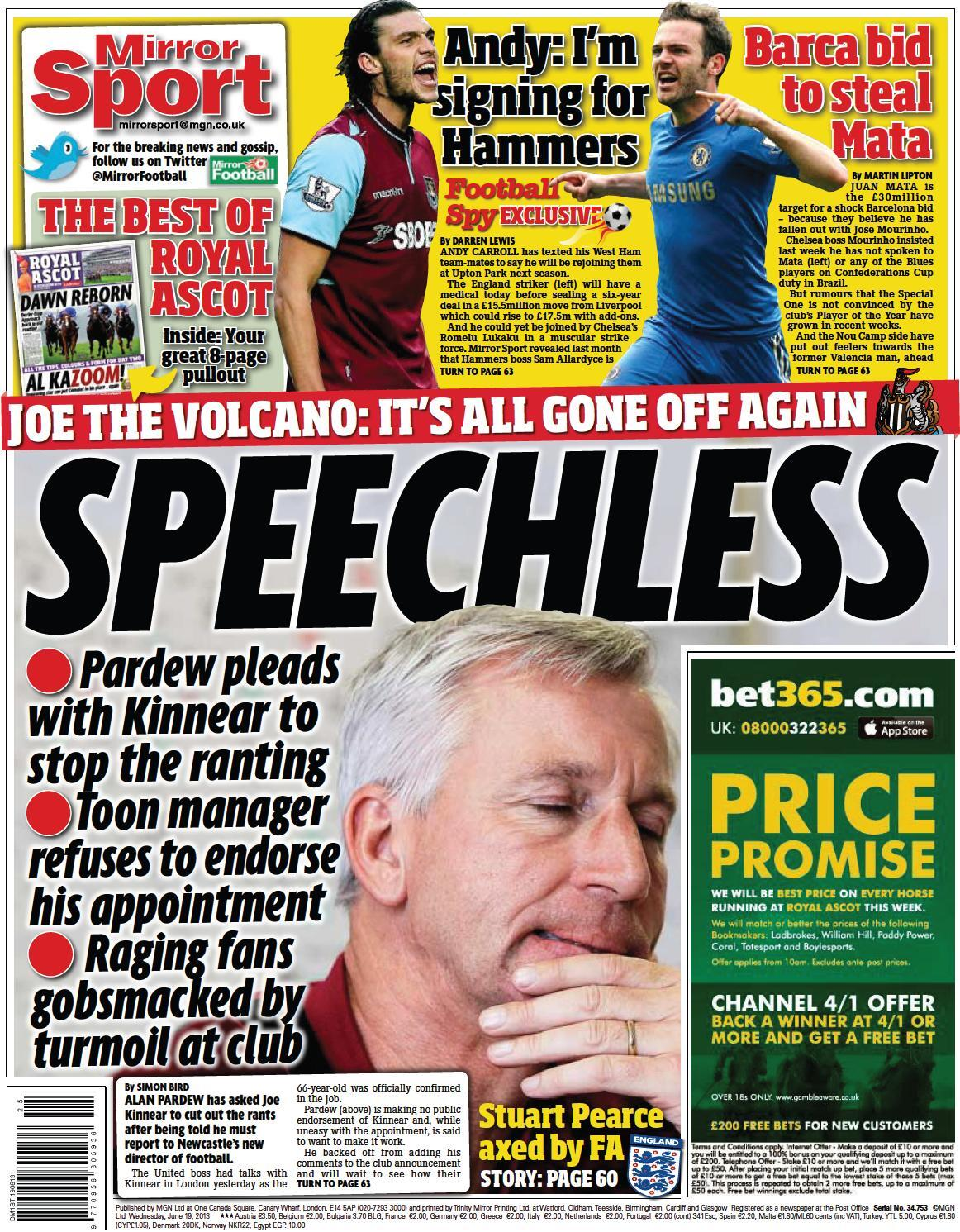 Newcastle in meltdown after Kinnear appointment, Matas Chelsea contract dispute & West Ham land £15.5m Carroll