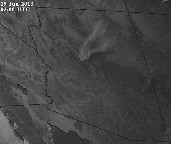Satellite photo of the #DoceFire just west of #Prescott AZ at 8 pm MDT Tuesday #wildfire #AZfire pic.twitter.com/xqcBxKqSk4