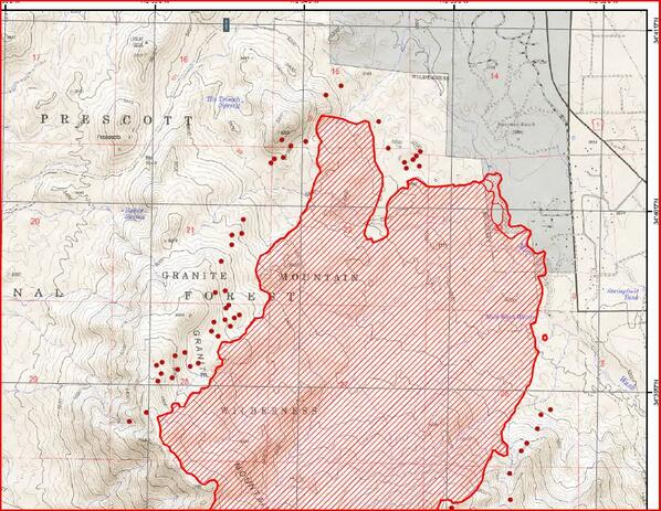 Map: Northern perimeter of #DoceFire burn area. #azfire pic.twitter.com/GtFuCMDvdz