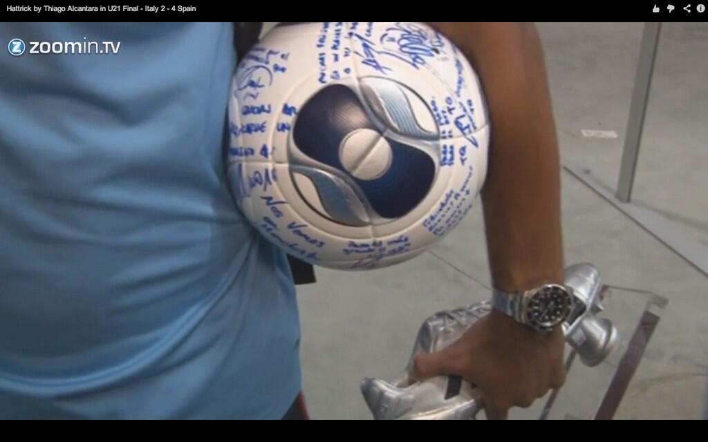David De Gea signs Thiago Alcantaras matchball See you in Manchester