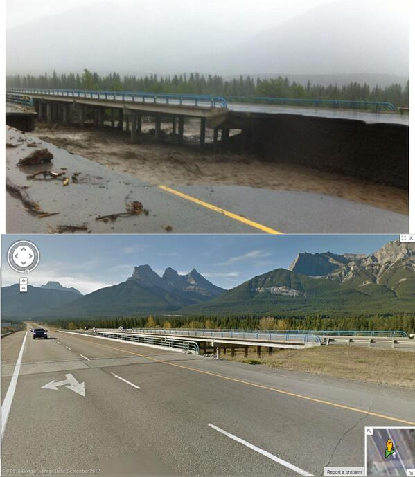 For those not familiar with Canmore, here's a before and after shot of the Trans-Canada HWY in Canmore: pic.twitter.com/SqGAMsNDbp