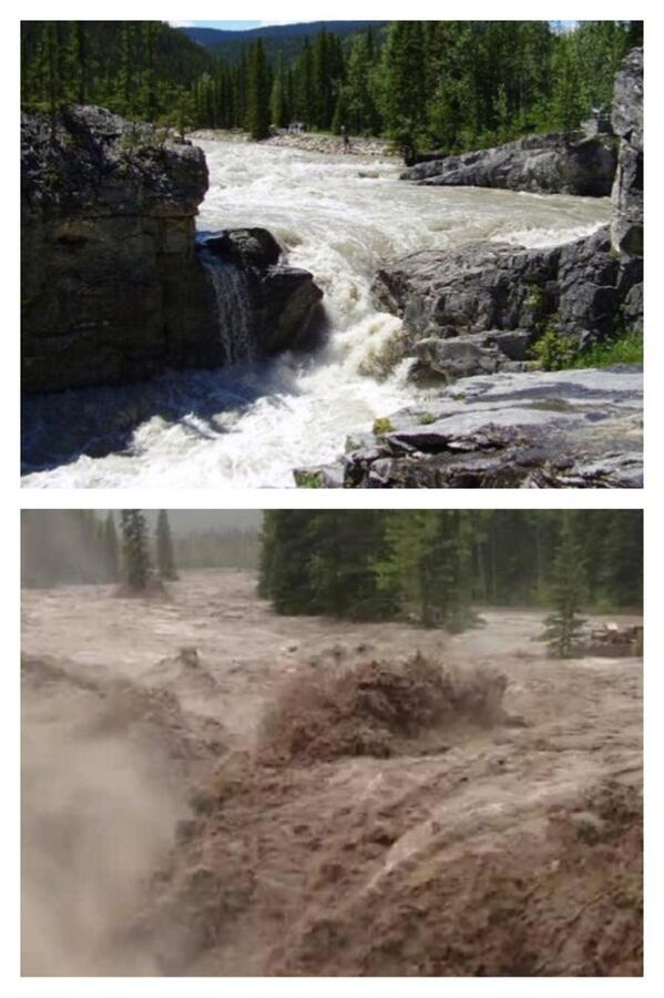 Elbow falls in Calgary,Canada pre flood and now a few hours ago. Stay safe Calgary via @chadmsaunders #calgaryflood http://t.co/1MbXJGUgfi