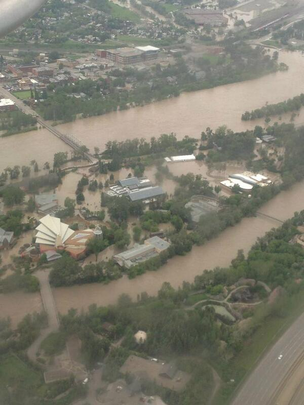Another view of @calgaryzoo island from the air. Thanks Michelle Zimmer. #yycflood pic.twitter.com/xpW5uV029X