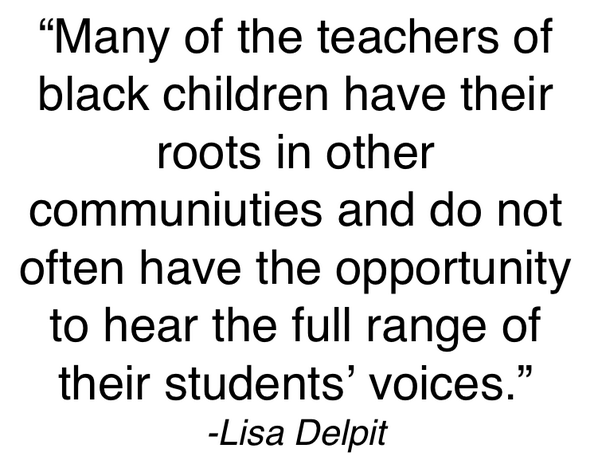 Q1: How can Ts w/ roots in other communities learn to hear a full range of student voices? #EdBookTalk pic.twitter.com/kf0cG4taFb