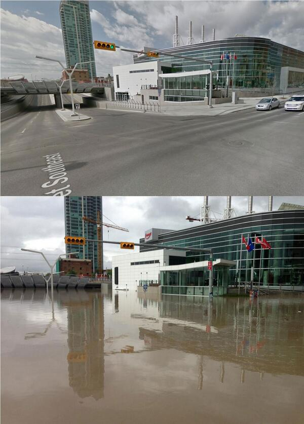 RT @IrishEagle Before/After Downtown Calgary. 9th Ave SE at 4th St #yycflood #yyc via @AlainDupere: pic.twitter.com/KdiE5ZnoPY