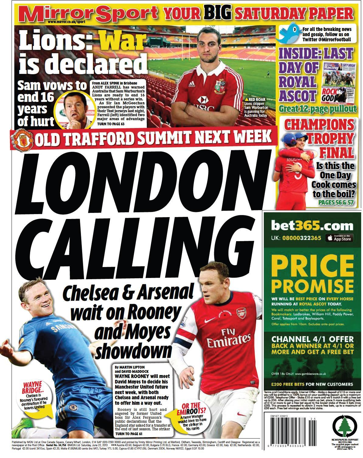 Arsenal & Chelsea fight for sign Wayne Rooney from Man United [Star & Mirror]