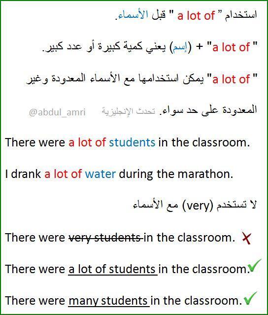 تحدث الإنجليزية on twitter استخدام a lot of قبل الأسماء a lot