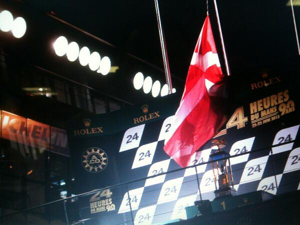 Danish flag flying at half mast at Le Mans