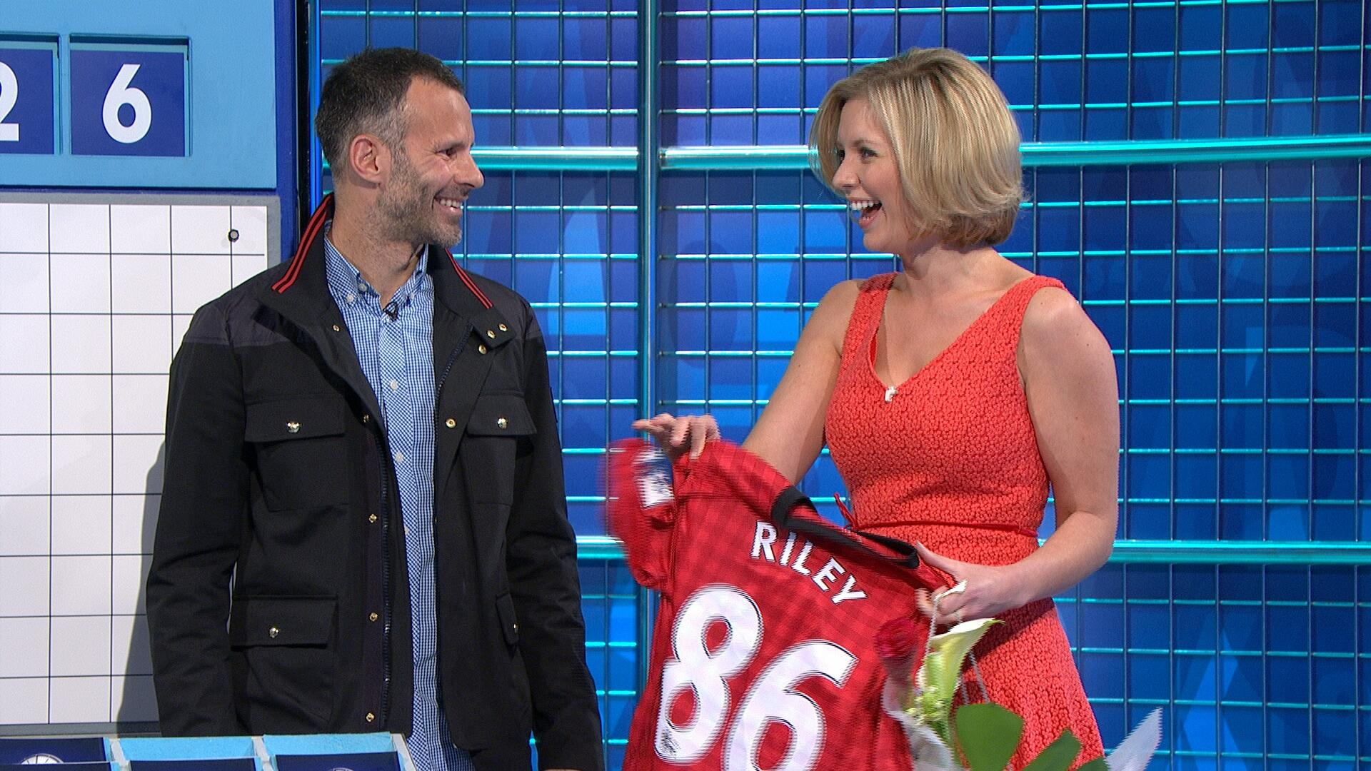 Pictures: Man Uniteds Ryan Giggs surprises Countdowns Rachel Riley on her 1000th show