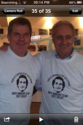 Les Strong (Rt)  & John Mitchell still proud members of the club they formed  in 1976 pic.twitter.com/Boy0qdTR5Q