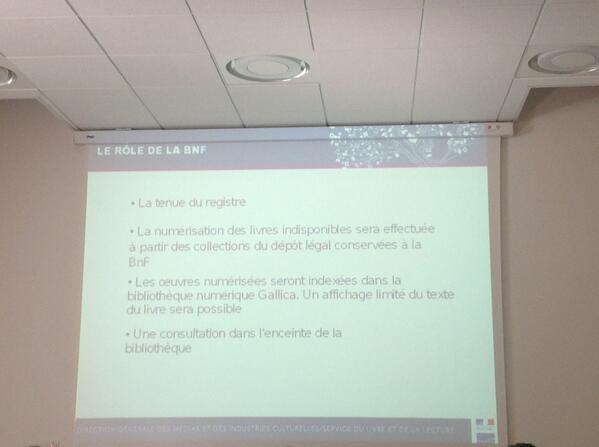 Le rôle de la BnF en matière de numérisation des indisponibles #ReLIRE #cogitation19 #arl #Rouen pic.twitter.com/2Lq0Nw2Bi3