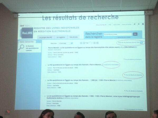 Interface de recherche, export des données et signalement par tous #BNF #ReLIRE. #cogitation19 #arl #Rouen pic.twitter.com/lBebs1duYt