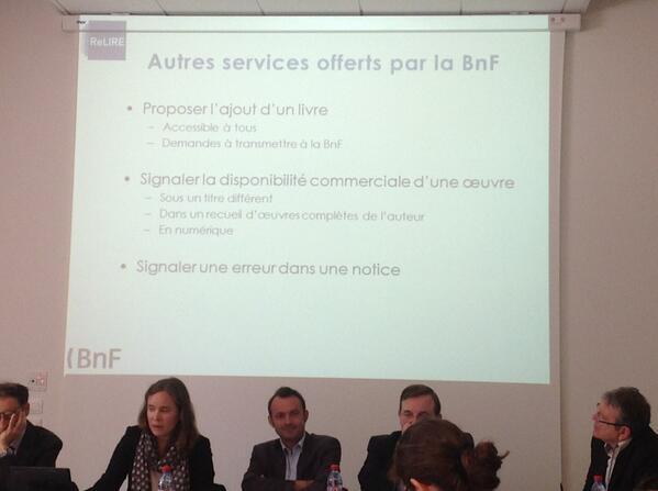Les autres services mis en place par la#BNF  #ReLIRE. #cogitation19 #arl #Rouen pic.twitter.com/po9NwGVju3
