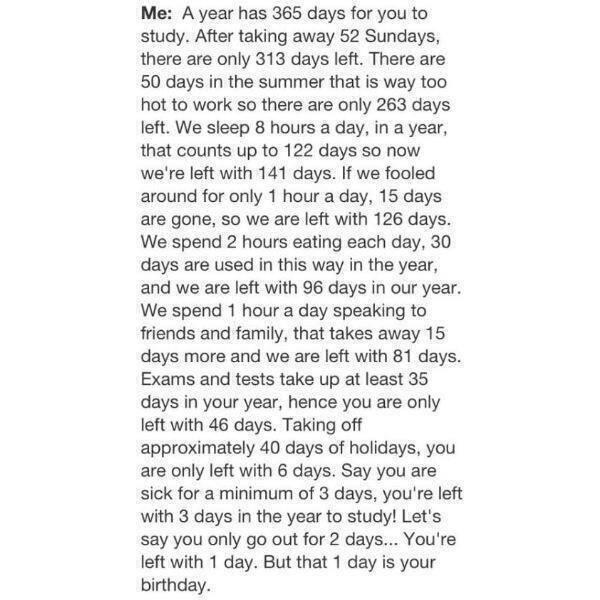 An essay on why i didn't do my homework