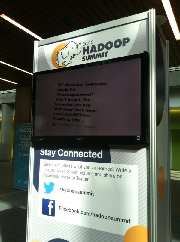 Excited to help represent team Twitter #hadoop tomorrow! #hadoopsummit  @jointheflock cc: @joep pic.twitter.com/o9H0nVPUdz