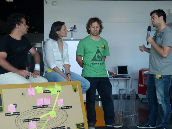 Restitution du travail de la 5ème équipe sur 10, journée #ecocrea sur les #fablab à @capsciences pic.twitter.com/wqwsvL3LPz