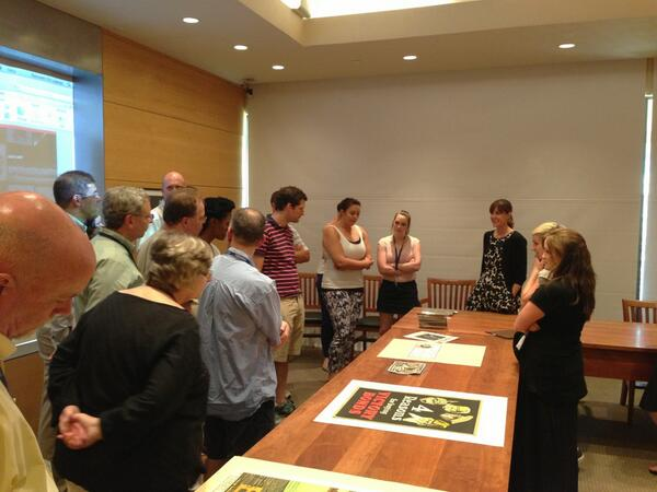 #GLIUT2013 teachers reviewing rare books, war propaganda posters, and docs at the Harry Ransom Center #UTAustin pic.twitter.com/XoBkbJwfBU