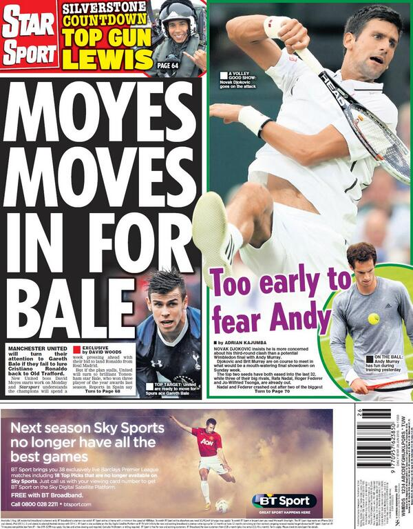 Man United boss David Moyes moves for Gareth Bale [Friday Daily Star back page]
