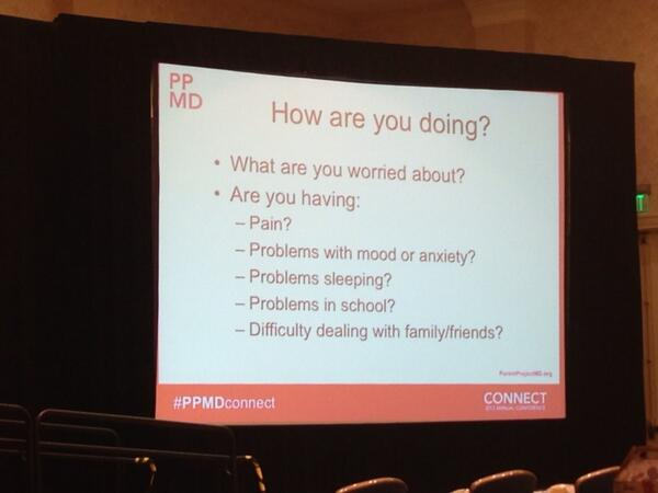 """#PPMDconnect Garey Noritz: """"The important things for doctors to talk about with patients with #Duchenne."""" pic.twitter.com/KuVOOyXr60"""