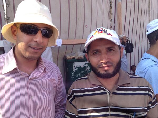 Habib and friend say they will be at MB rally til Morsi returns. No compromise candidate possible #Egypt http://pic.twitter.com/ey6qOzRjMt