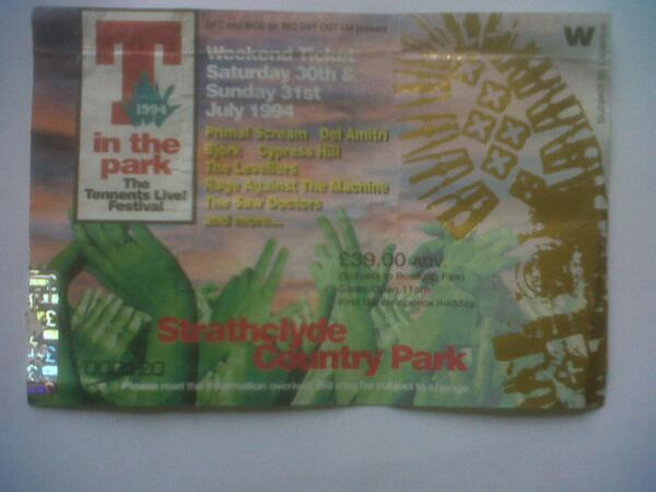 1994 ticket (No 120) bought to celebrate end of Uni. Great weather and lineup. @Tinthepark #20yearsofT @NME only £39 pic.twitter.com/EYrlbaKAs1
