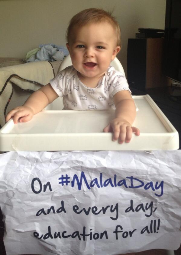 This baby wants to see quality education for all by the time he grows up. #MalalaDay cc. @un pic.twitter.com/eXmYbbDjNK