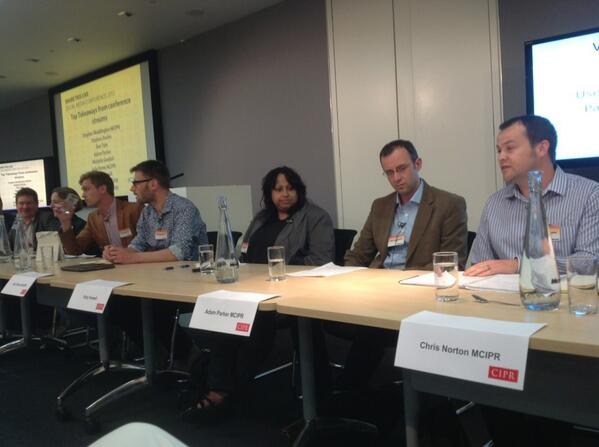 Final session of #ciprsm inc @chris_norton @katyhowell @wadds @twofourseven @dantyte @greenwellys @stuartbruce pic.twitter.com/IHvQ27h3G9