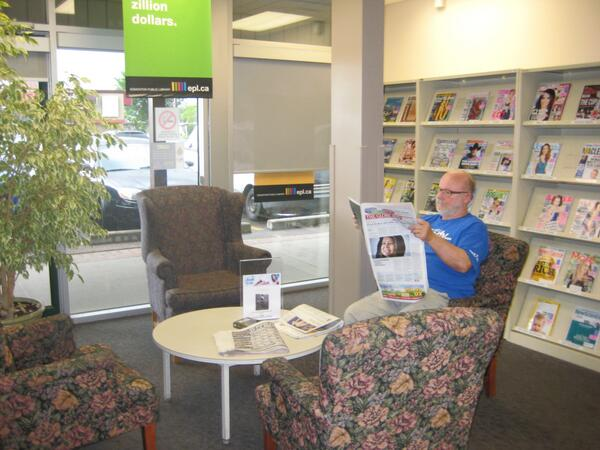 #yegquest @EPL Gary and I visited the Calder Branch today. Very nice friendly staff and great books. pic.twitter.com/xfSl3OtG2C