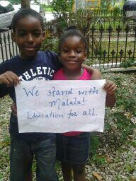 The kids took stand for #Education after hearing about Malala. Friday is #MalalaDay. Info: http://j.mp/bwNlKx http://pic.twitter.com/2e9crTEh3H