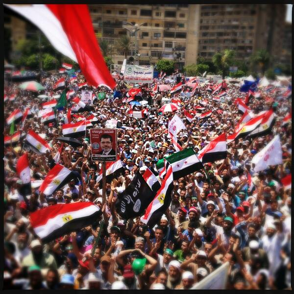 Thousands of pro- #Morsi supporters demonstrate in Nasr City #30June #Cairo http://pic.twitter.com/rn6NsBdJ18