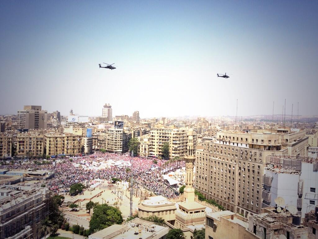 Egypt military jets fly over Tahrir square