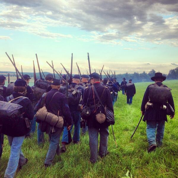 On the march! Gotta hunch that Lee ain't done just fightin' yet... #Gettysburg150 #gburg150 #gettysburg #14thCT pic.twitter.com/98Ps1Z3lMl