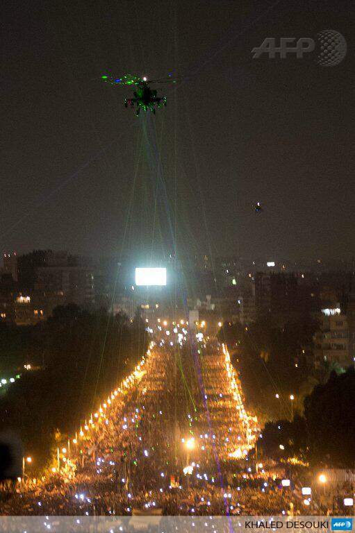lasers dazzling a government helicopter during egyptian protests against mosri