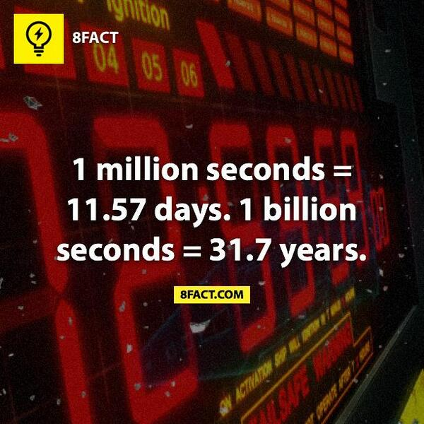 How much is a billion seconds in days