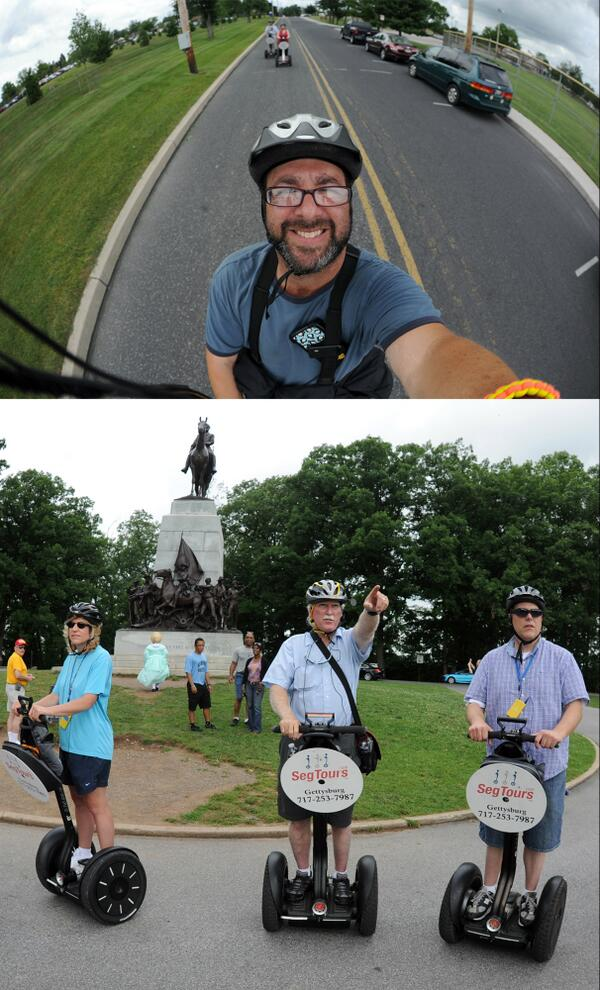 Today I learned to take photos & video while driving a Segway for #gettysburg150 tour. Video to come. Updates @ydrcom pic.twitter.com/xRVDCNzyZB