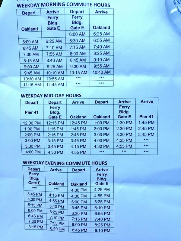 San Francisco Bay Ferry BART Strike Schedule attached to/from #Oakland and #SanFrancisco #BART  #BARTstrike pic.twitter.com/IMYAOnURKE