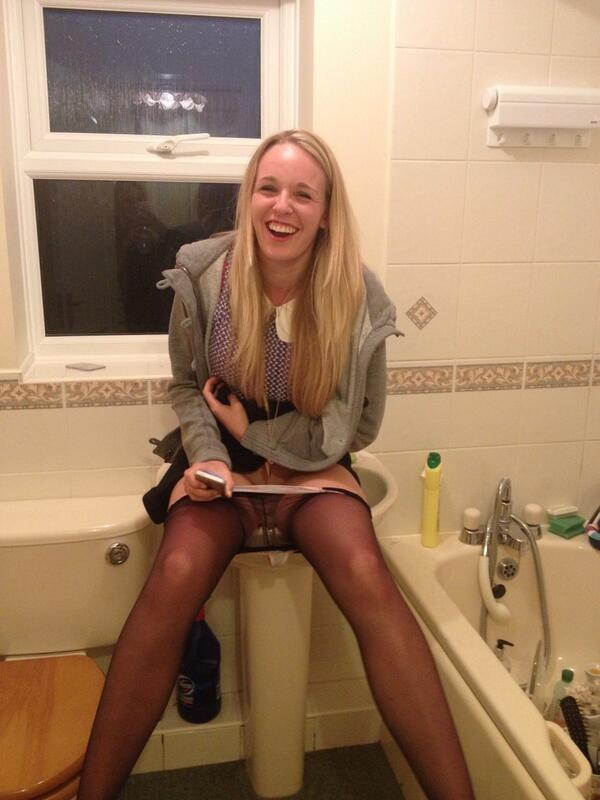 emily peeing in the sink.   cause gina was on the