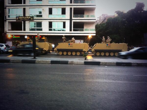 Egypt's army deployed on streets of #Cairo as darkness falls http://pic.twitter.com/fC5ZHd3A8s Live updates: http://bbc.in/17JzJcv @sommervillebbc