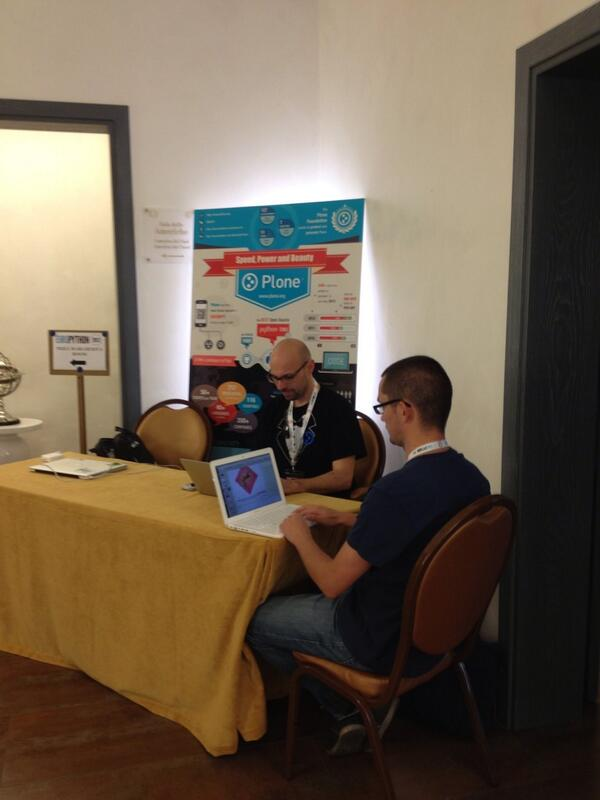The #plone booth at #europython!! Every question answered pic.twitter.com/fVTCe1ePS1