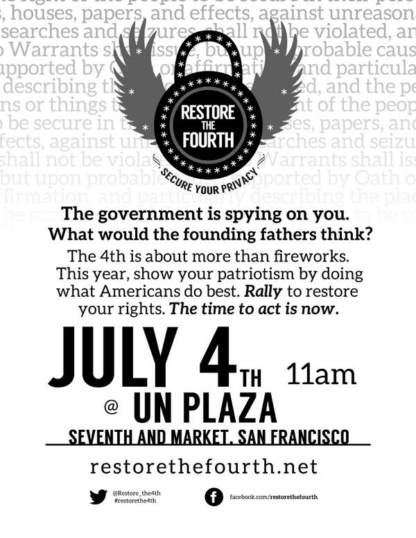 San Francisco Bay Area #RestoreThe4th Event Flyer: 11 AM, UN Plaza - March to #Room641A! pic.twitter.com/3QoMfTF4Gn.
