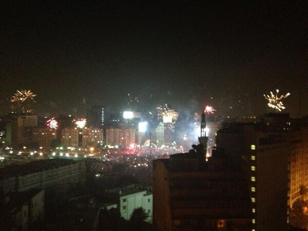 Wild celebrations in #Tahrir square http://pic.twitter.com/yz2b0cj97p
