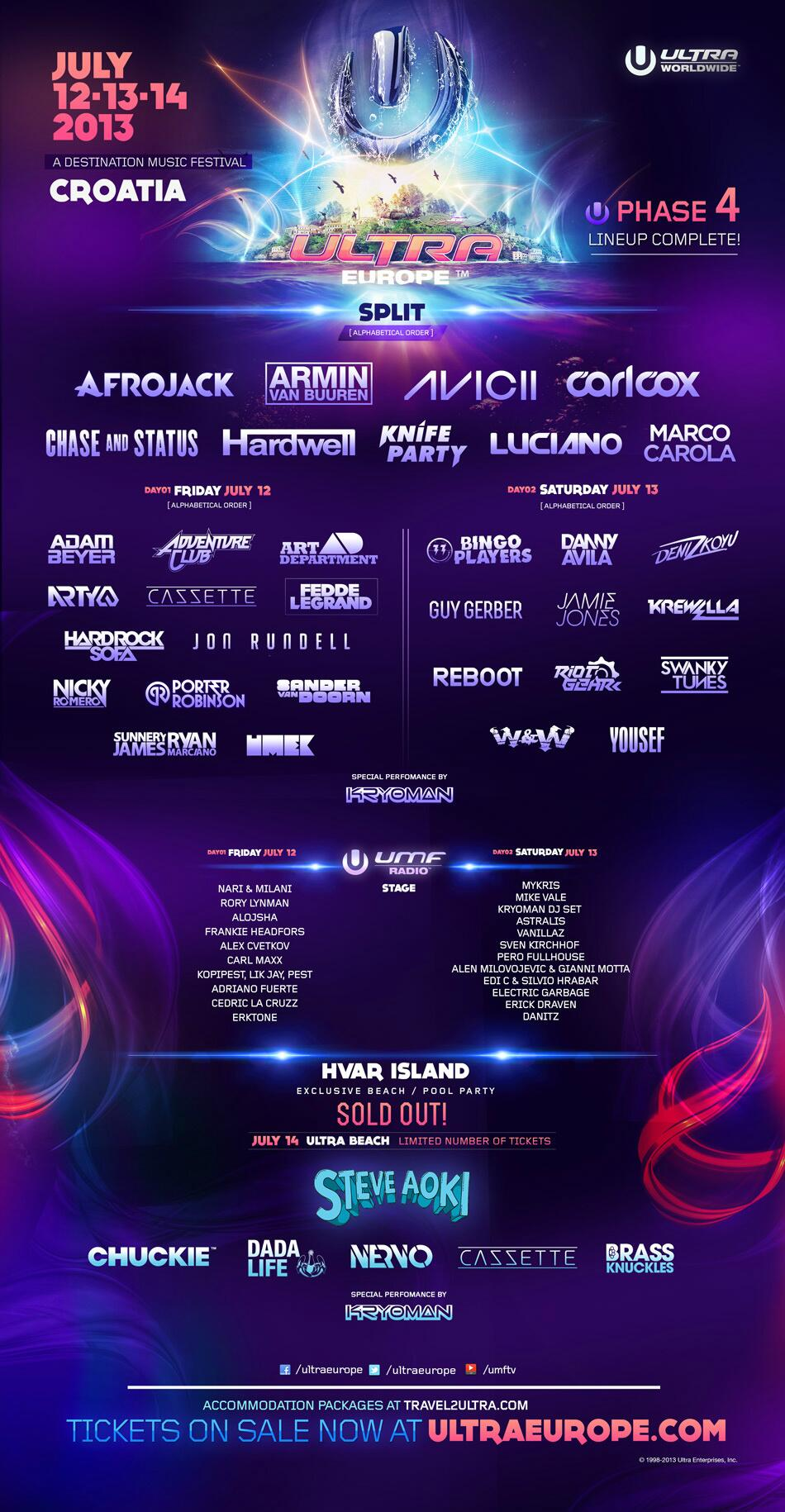 Ultra Music Festival Europe 2013 | Lineup | Tickets | Dates | Video | News | Rumors | Apps