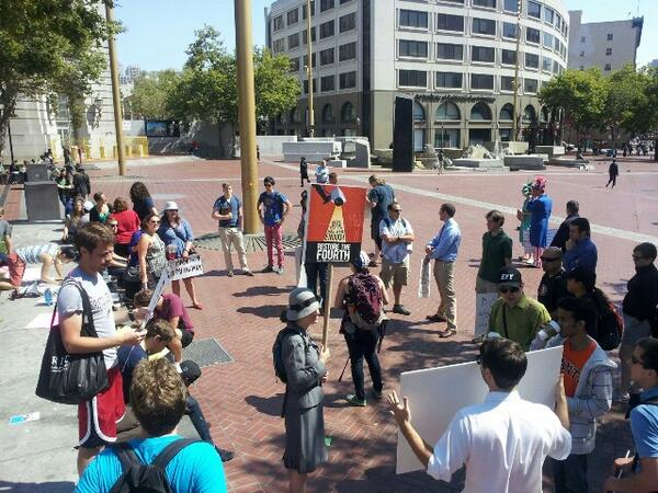 Early arrivals at SF Bay Area #RestoreThe4th protest! Photo: UN Plaza, 10:30am. Event at 11 AM! pic.twitter.com/l6obkYOzRv