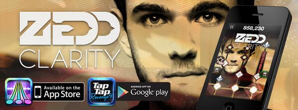 """Electro house artist @Zedd is back with his track """"Clarity (feat. Foxes)"""" for FREE in @TapTapRevenge now! http://t.co/fMExR80wpb"""