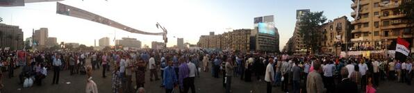 Pano pic of #Tahrir at sunset near the main stage. #egypt http://pic.twitter.com/cXKZlpjGYa
