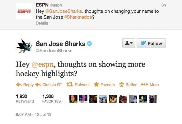 San Jose Sharks take a chainsaw to ESPN on Twitter pic.twitter.com/hHYWmub7Dj