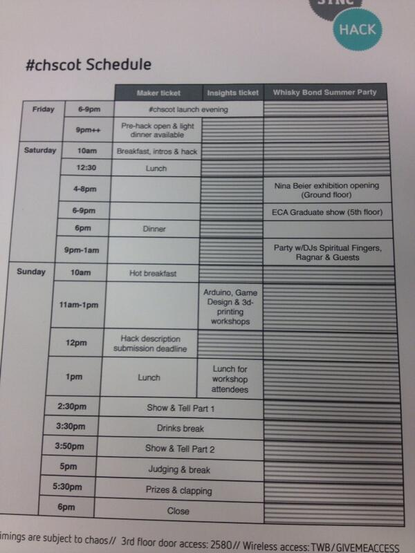 Here's the fun packed schedule for the weekend at #chscot pic.twitter.com/EAkhuKEcaq